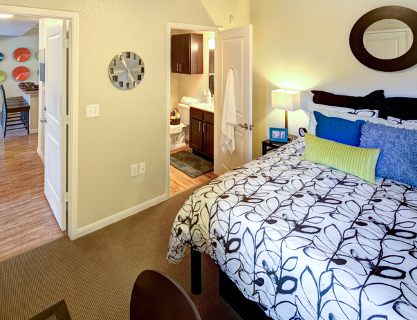 Fully furnished, private bedroom at Campus Edge on UTA Blvd in Arlington, TX near the University of Texas at Arlington