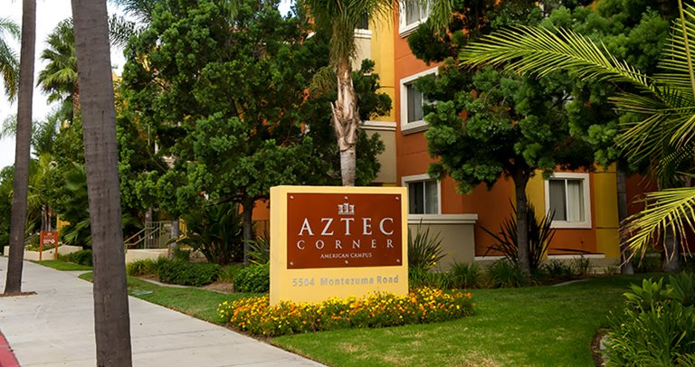 Exterior view of Aztec Corner near San Diego State University