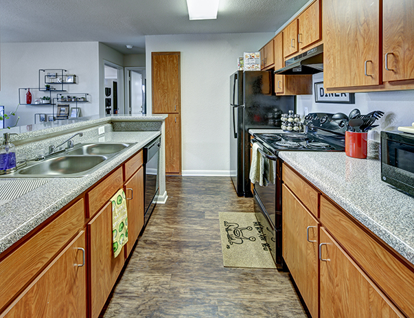 Fully furnished living room at Uptown Apartments near the University of North Texas in Denton, TX