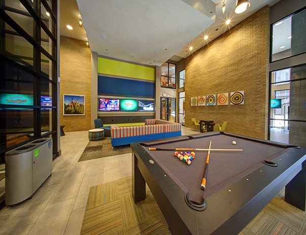 Recreation center with billiards, ping pong & arcade game table