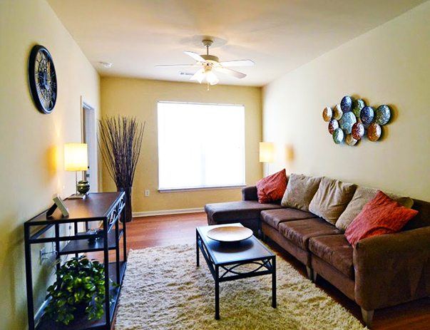 Spacious living room at Independence Place Apartments