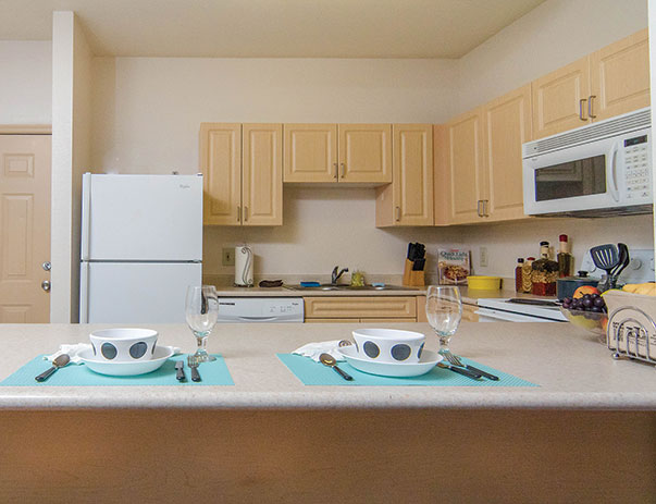 Fully equipped kitchen at University Village
