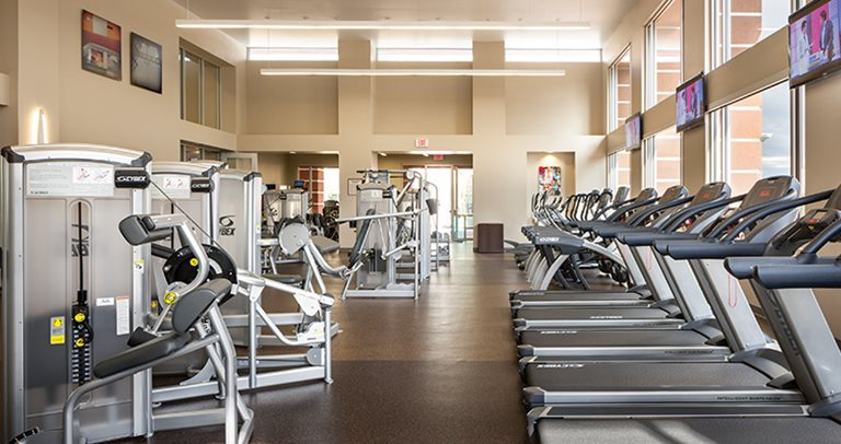 Fitness center at Hilltop Townhomes near Northern Arizona University
