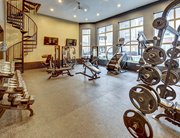 Fitness center at UCentre at Fry Street near the University of North Texas in Denton, TX