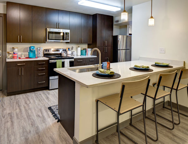 Fully equipped kitchen with quartz stone countertops at U Centre on College