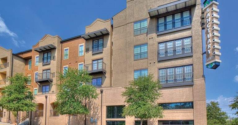 Exterior view of Sanctuary Lofts near Texas State University in San Marcos, TX 78666