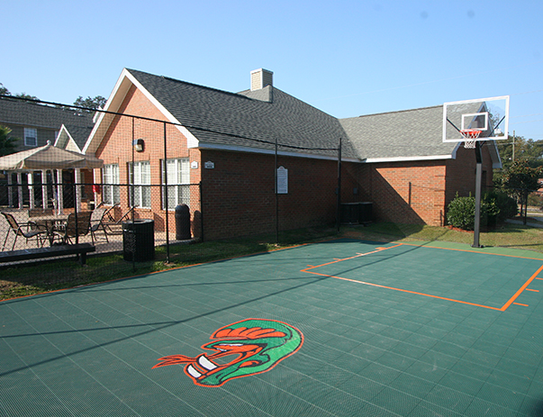Basketball court at College Club Townhomes