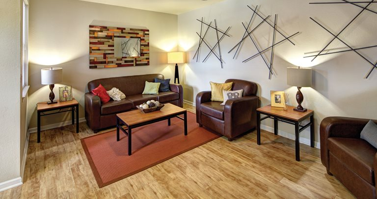 Fully furnished living room at Villas at Chestnut Ridge