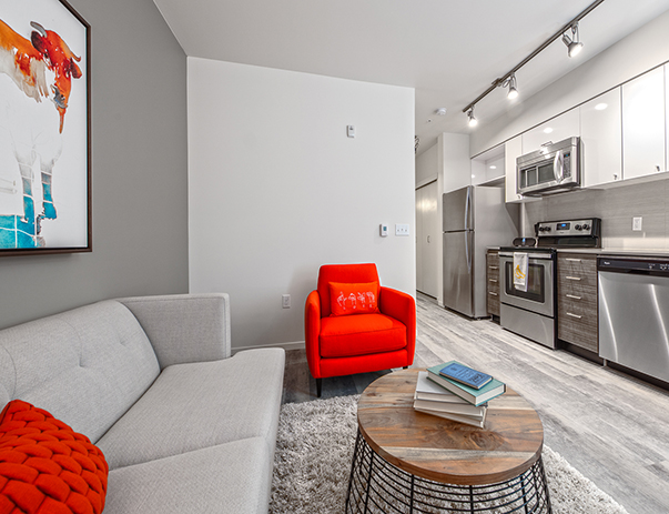 Spacious living area at ELEVEN at U District near the University of Washington