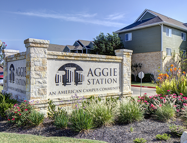 Exterior view of Aggie Station near Texas A&M University