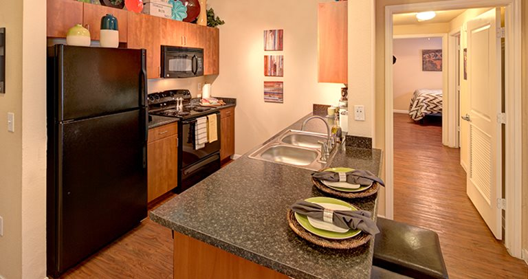 Fully equipped kitchens at 26 West near UT Austin