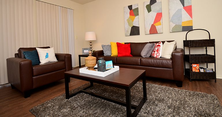 Fully furnished living room at Entrada Real near the University of Arizona