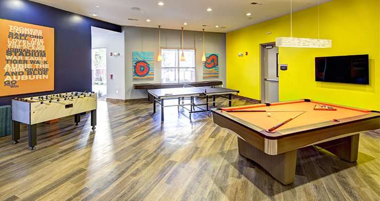 24-hour recreation center with shuffleboard, ping pong, foosball & billiards
