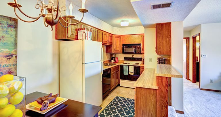 Fully equipped kitchen at Forest Village and Woodlake