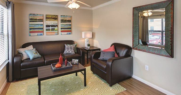 Spacious living room at the Villas on Sycamore