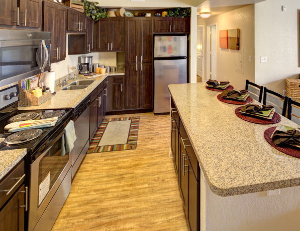 Fully equipped kitchen at Campus Edge on UTA Blvd in Arlington, TX near the University of Texas at Arlington