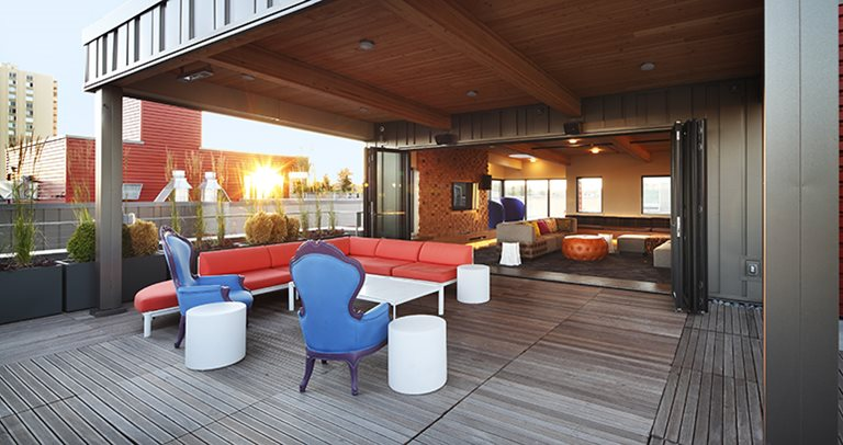 Rooftop lounge at TWELVE at U District near the University of Washington