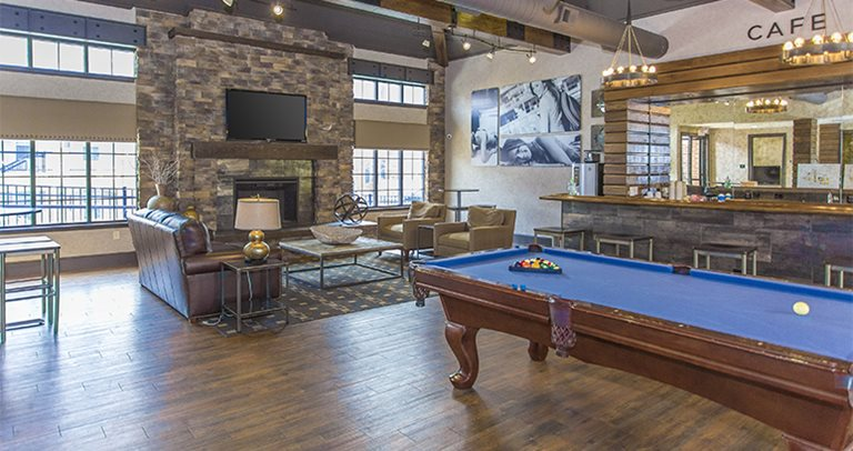 Recreation center with billiards and foosball at The Province Greensboro
