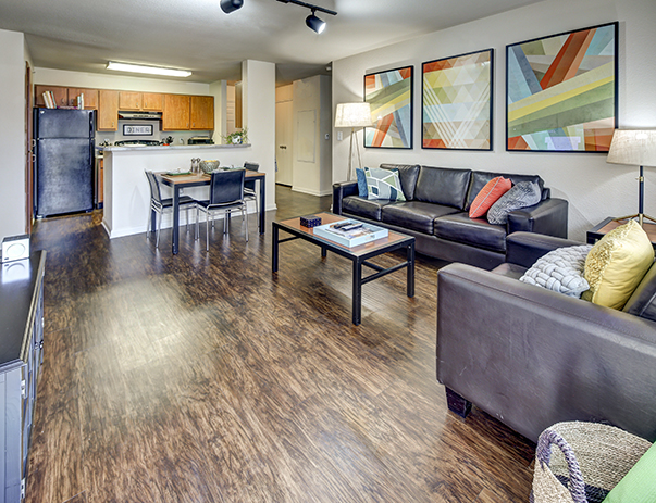 Fully equipped kitchen at Uptown Apartments near the University of North Texas in Denton, TX