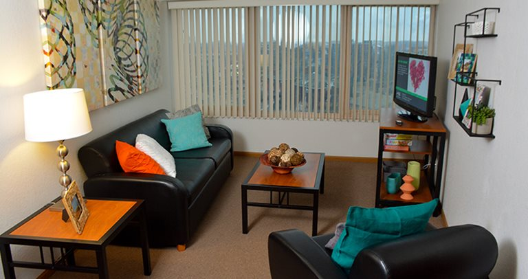 Fully furnished living room at Tower at Third near University of Illinois at Urbana-Champaign