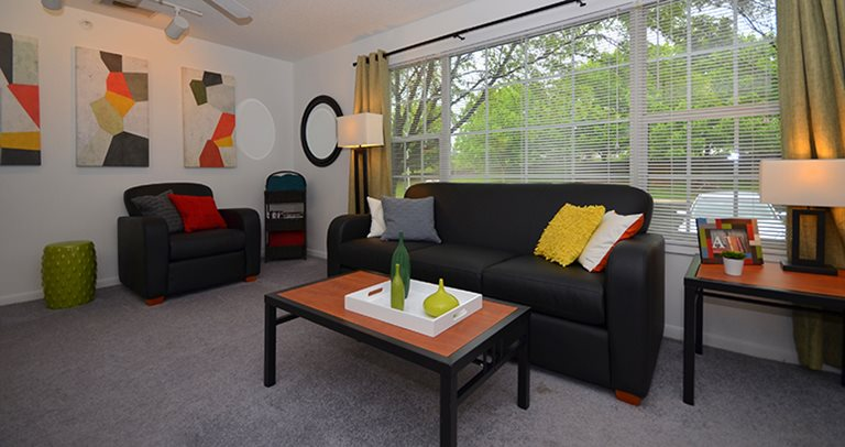 Fully furnished living room at Campus Corner