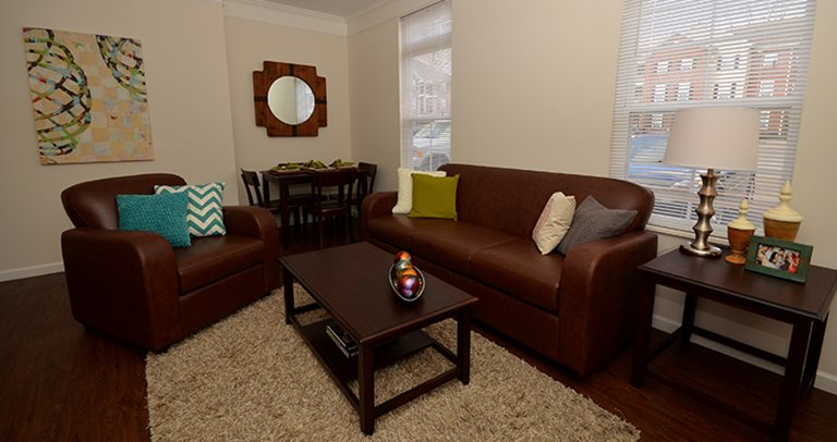Fully furnished living room at The Province