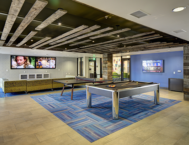Recreation center with billiards & ping pong at U Club on 28th