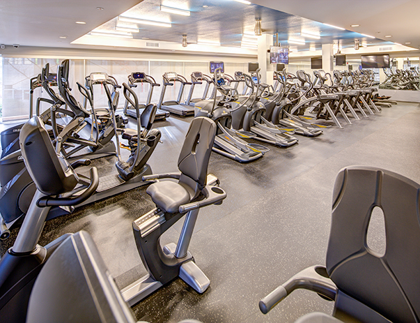 24-hour, state-of-the-art fitness center with separate cardio room at 2125 Franklin