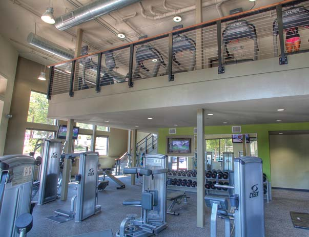 Fitness center at Sanctuary Lofts in San Marcos, TX near Texas State University