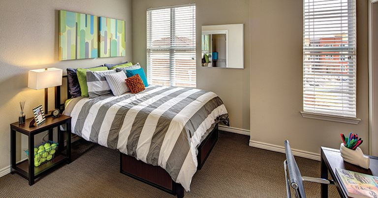 Fully furnished, private bedroom at U Club at Overton Park in Lubbock, TX near Texas Tech University