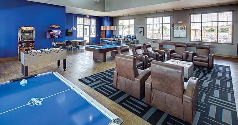 Game room at The Townhomes at Newton Crossing