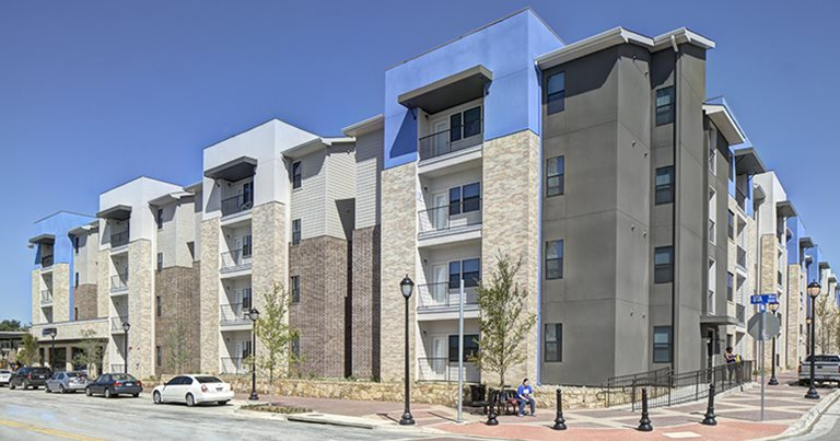 Exterior view of Campus Edge on UTA Boulevard near The University of Texas at Arlington