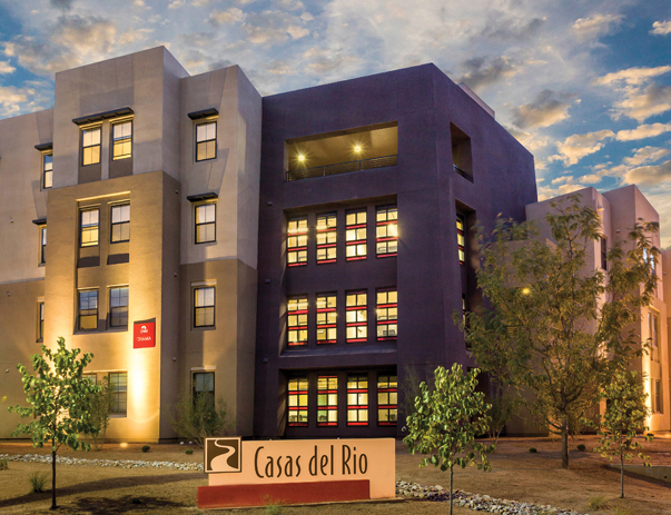 Exterior view of Casas del Rio near the University of New Mexico