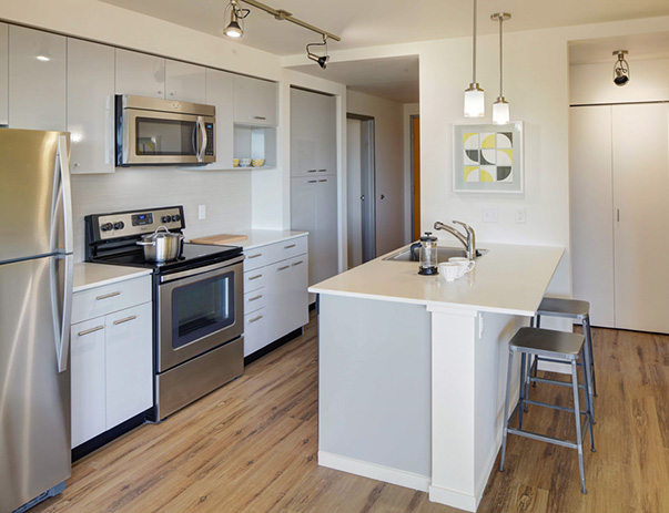 Fully equipped kitchen at ELEVEN at U District near the University of Washington