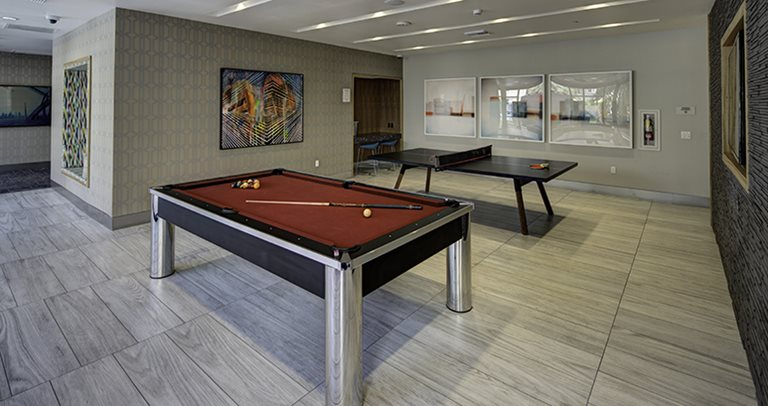 Recreation center with billiards & ping pong at Currie Hall