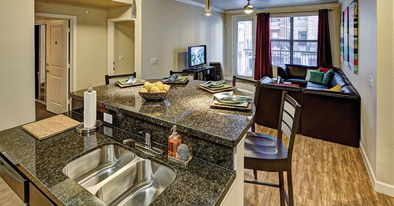 Fully equipped kitchen at The Village at Overton Park