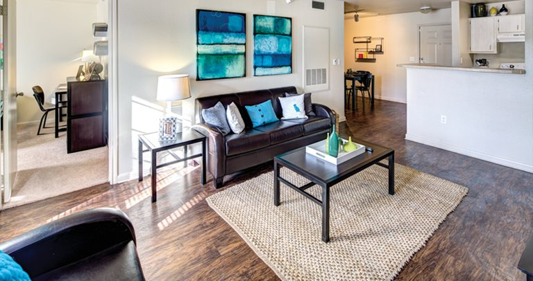 Fully furnished apartment at University Trails in Lubbock, TX near Texas Tech University.