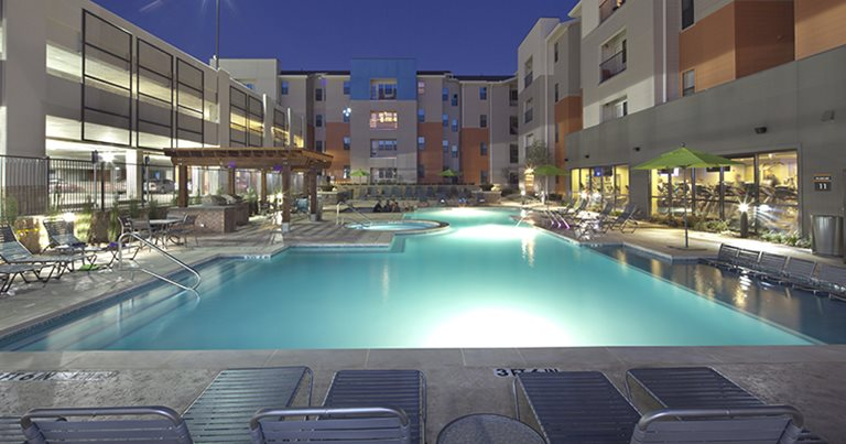 Swimming pool and sundeck at Campus Edge on UTA Boulevard