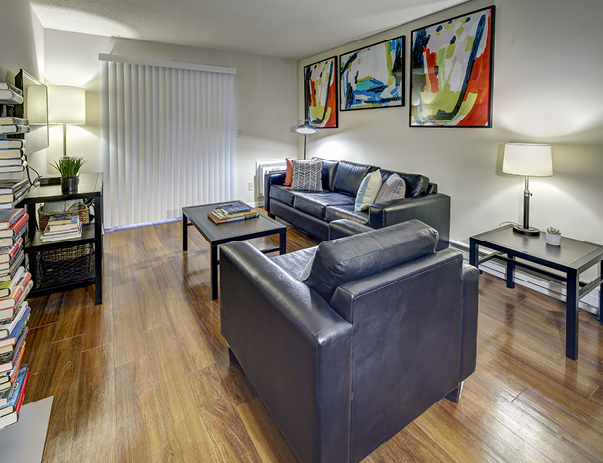 Spacious living room at 101 Green - a location of Campustown Rentals