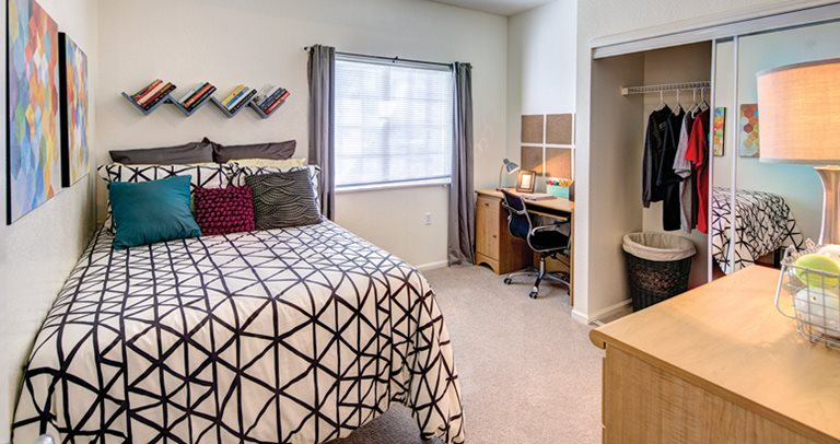 Fully furnished, private bedroom at Raiders Pass in Lubbock, TX near Texas Tech University