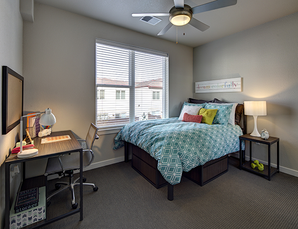 bedroom gallery.  Spacious bedroom at U Club on 28th Photo Gallery Student Housing Boulder CO