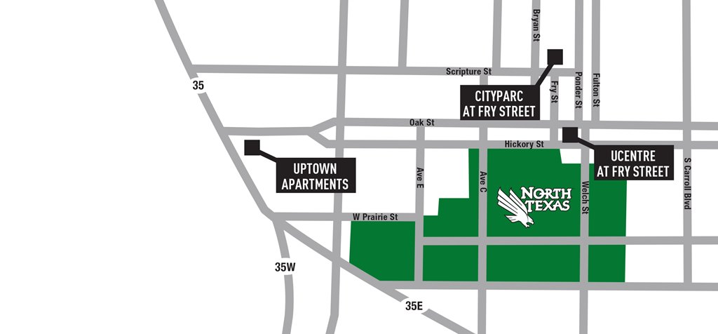 Map of Denton Student Apartments near UNT & TWU. Uptown Apartments, Cityparc at Fry Street, UCentre at Fry Street.