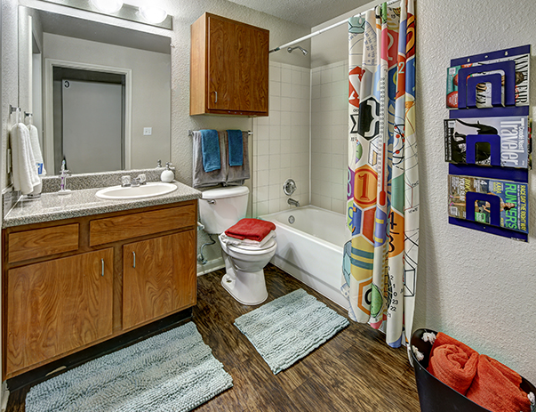 Spacious bathroom at Uptown Apartments in Denton, TX near the University of North Texas