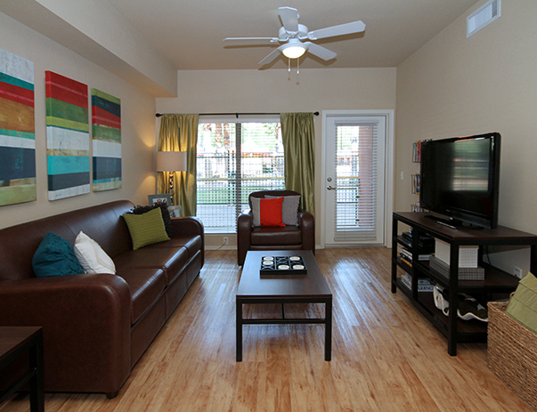 Fully furnished living room at Vista del Sol & Villas at Vista del Sol