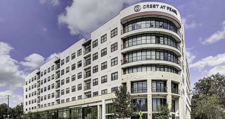 Exterior of Crest at Pearl near UT Austin
